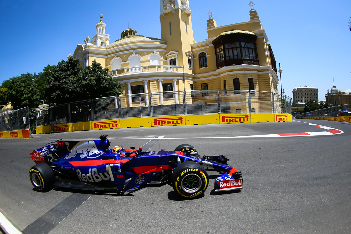 Russia Formula One driver Danil Kvyat of Toro Rosso F1 Team in action during the first practice session of the Formula One Grand Prix of Azerbaijan at the Baku City Circuit, in Baku, Azerbaijan 23 June 2017. The 2017 Formula One Grand Prix of Azerbaijan will take place on 25 June.