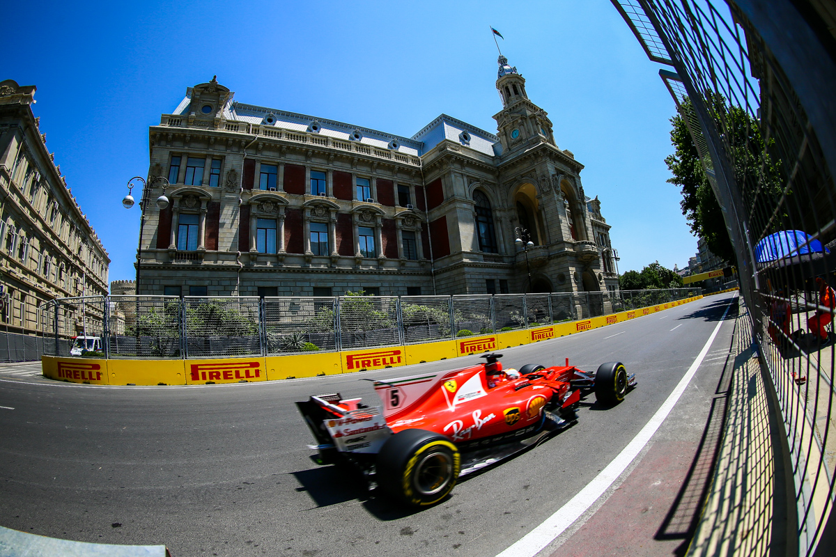 Spain Formula One driver Sebastian Vettel of Scuderia Ferrari F1 Team in action during the first practice session of the Formula One Grand Prix of Azerbaijan at the Baku City Circuit, in Baku, Azerbaijan 23 June 2017. The 2017 Formula One Grand Prix of Azerbaijan will take place on 25 June.