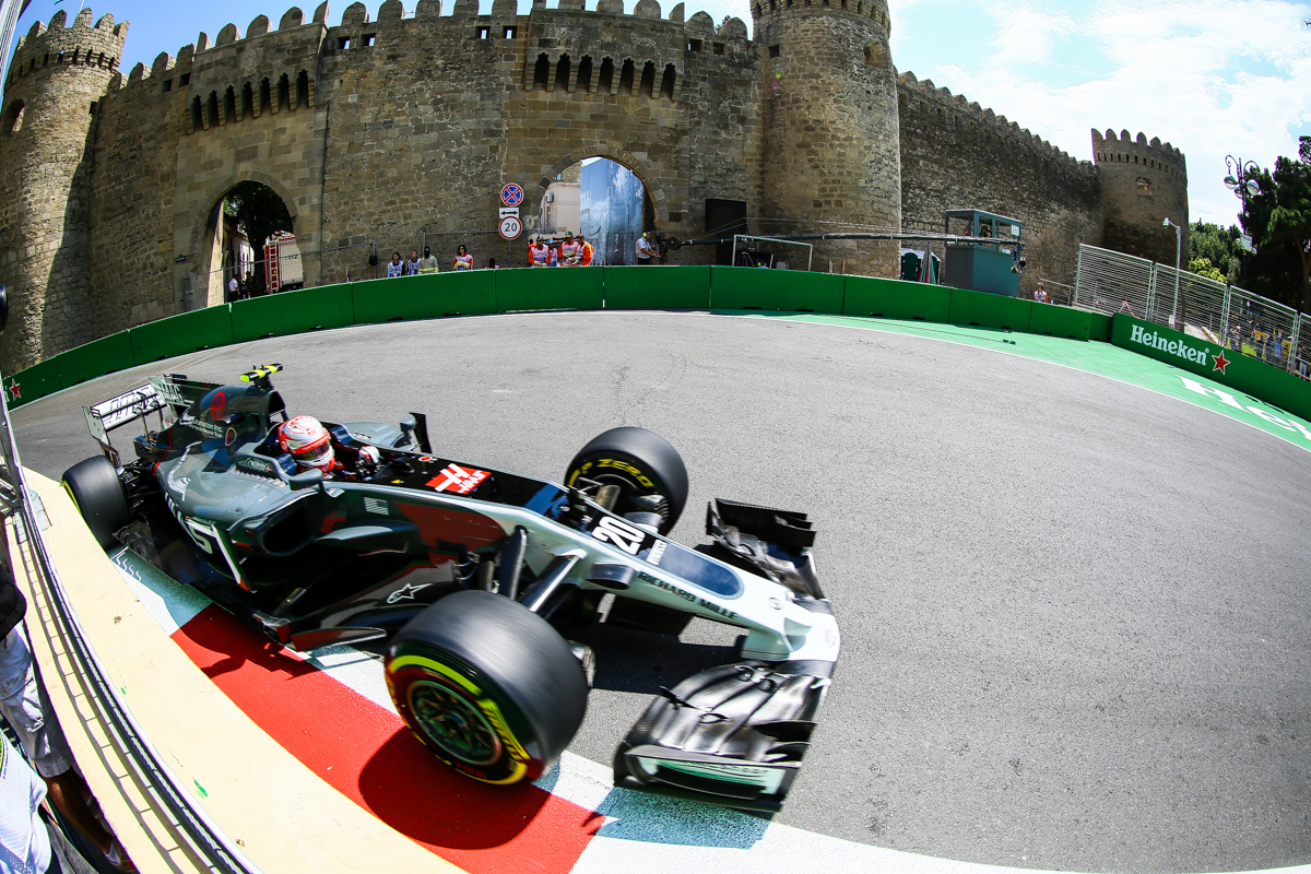 Norway Formula One driver Kevin Magnussen of Haas F1 Team in action during the first practice session of the Formula One Grand Prix of Azerbaijan at the Baku City Circuit, in Baku, Azerbaijan 23 June 2017. The 2017 Formula One Grand Prix of Azerbaijan will take place on 25 June.