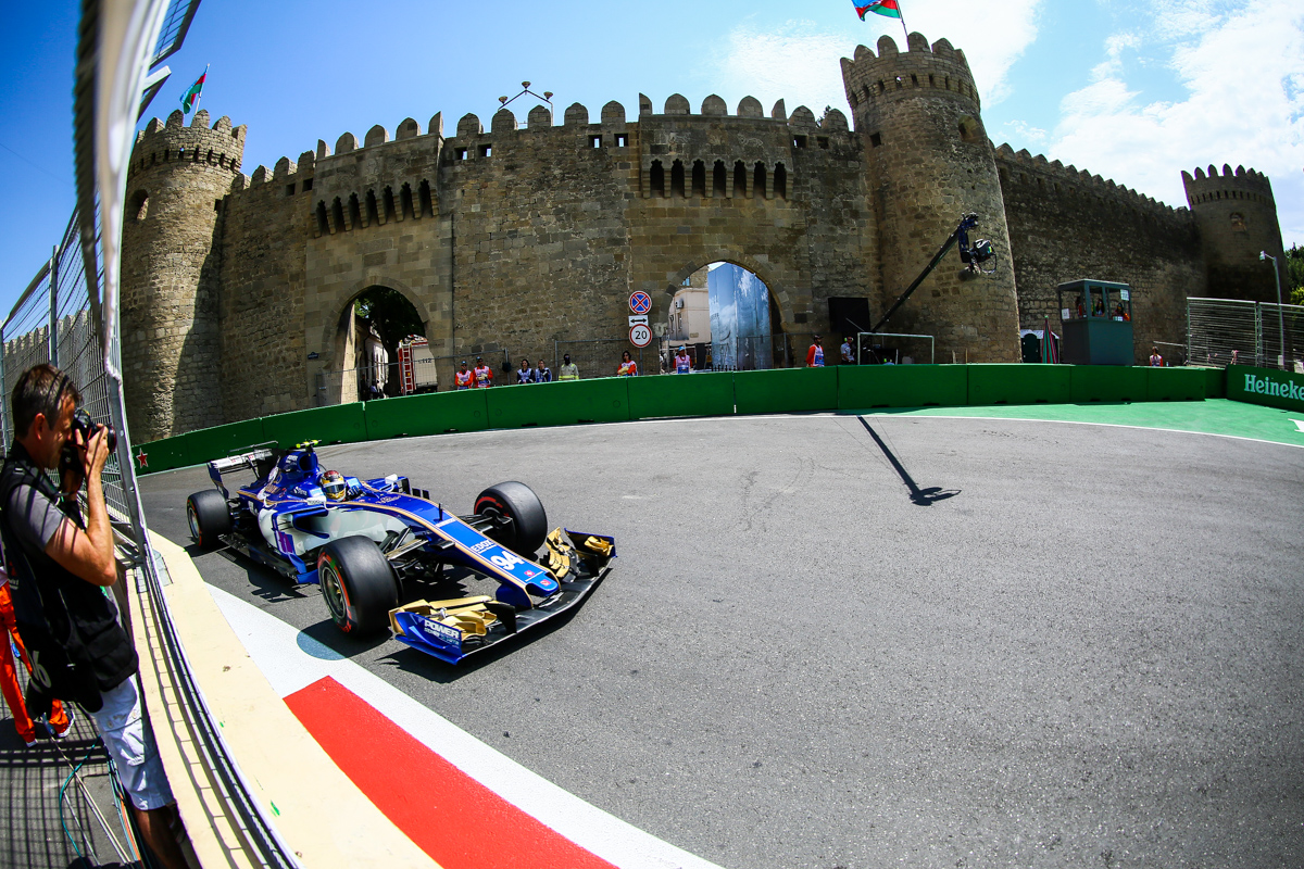 Germany Formula One driver Pascal Wehrlein of Sauber F1 Team reacts after he crashed his car during the first practice session of the Formula One Grand Prix of Azerbaijan at the Baku City Circuit, in Baku, Azerbaijan 23 June 2017. The 2017 Formula One Grand Prix of Azerbaijan will take place on 25 June.