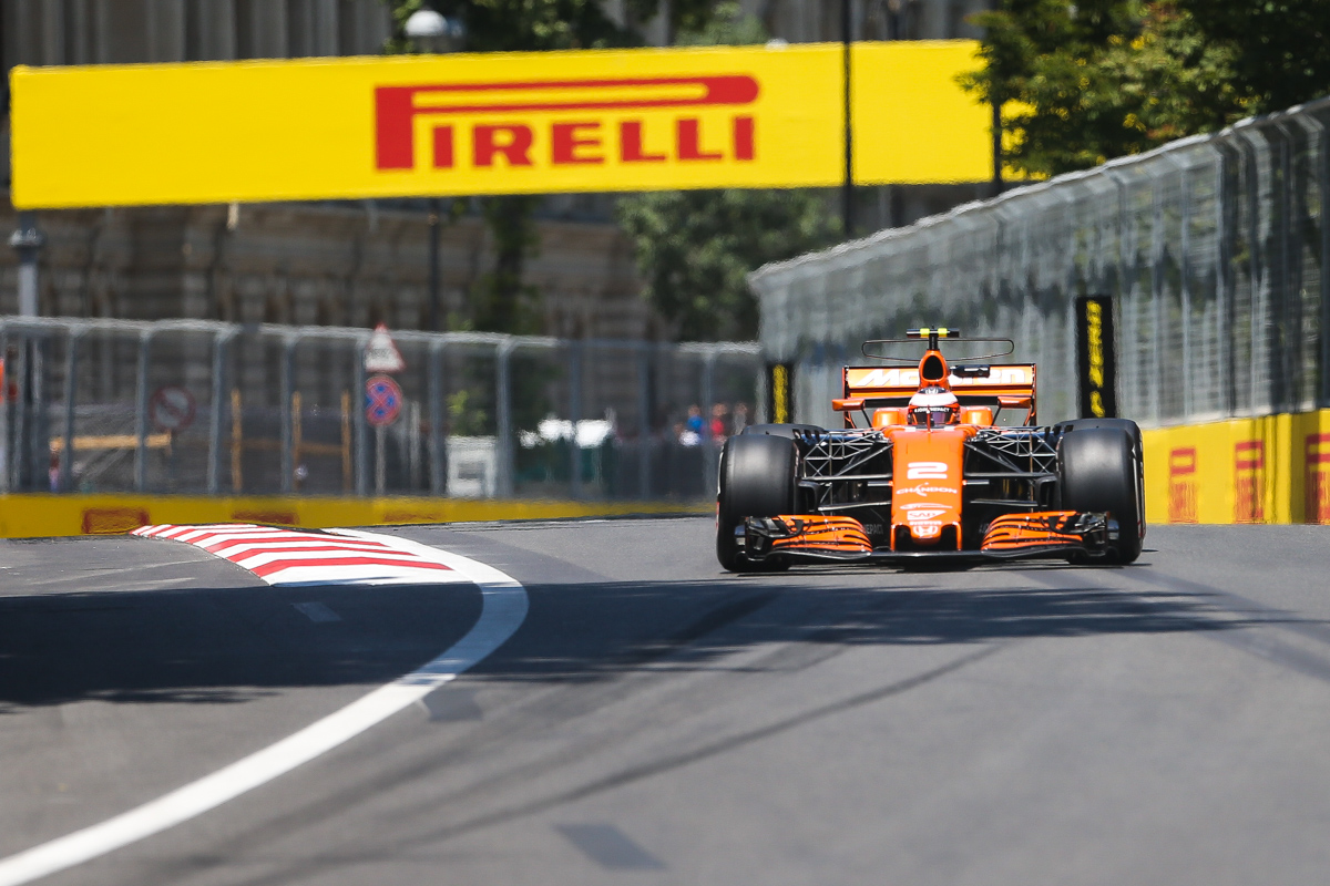 Belgium Formula One driver Stoffel Vandoorne of McLaren Honda F1 Team in action during the first practice session of the Formula One Grand Prix of Azerbaijan at the Baku City Circuit, in Baku, Azerbaijan 23 June 2017. The 2017 Formula One Grand Prix of Azerbaijan will take place on 25 June.